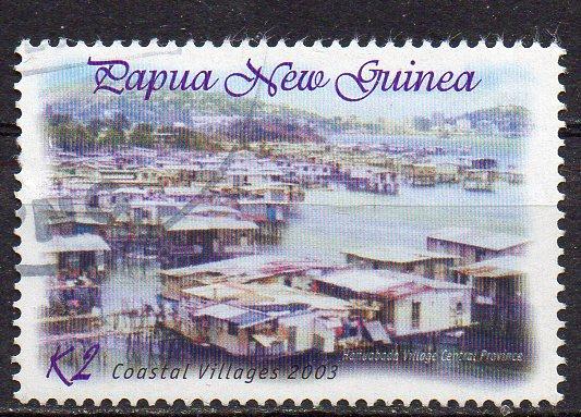 Papua Neuguinea, Mi-Nr. 1005 gest., Pfahlbauten