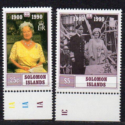 Salomon Inseln, Mi-Nr. 731 - 732 **, kompl., 90. Geburtstag der Königin-Mutter
