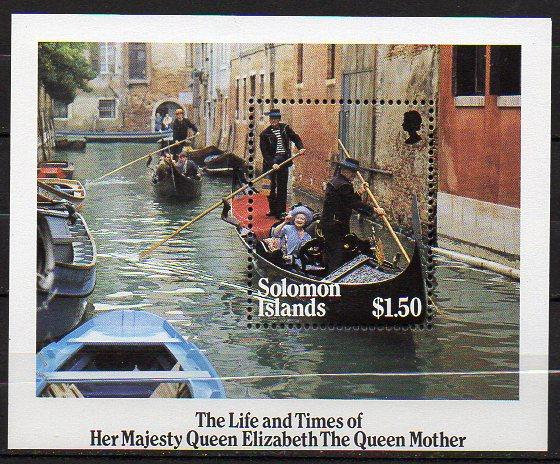 Salomon Inseln, Block Mi-Nr. 16 **, Königin-Mutter in Venedig