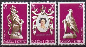 Samoa, Mi-Nr. 372 - 374 **, kompl., 25 jähriges Krönungsjubiläum ER II.
