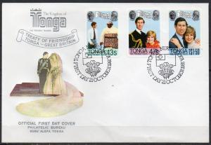Tonga, Mi-Nr. 786, 787 + 788 gest. auf FDC