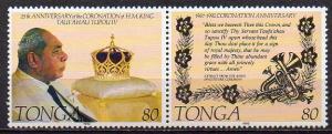 Tonga, Mi-Nr. 1234 + 1235 **, ZD, 25. Krönungsjubiläum König Tupou IV.