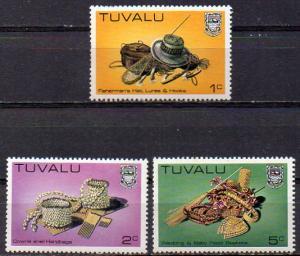 Tuvalu, Mi-Nr. 173, 174 + 175 **, folkloristische Kunst