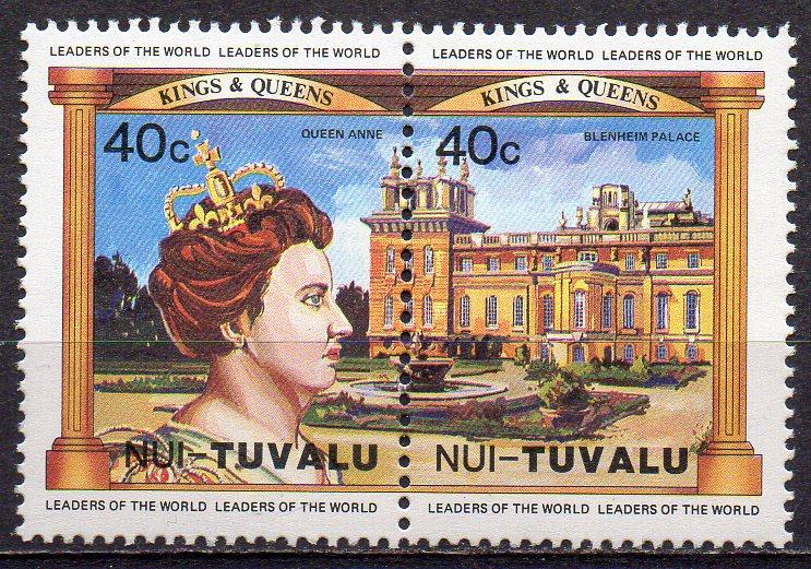 Tuvalu - Nui, Mi-Nr. 15 + 16 **, ZD, Königin Anne