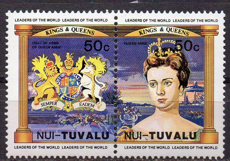 Tuvalu - Nui, Mi-Nr. 17 + 18 **, ZD, Königin Anne