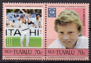Tuvalu - Nui, Mi-Nr. 43 + 44 **, ZD, Cricket Spieler