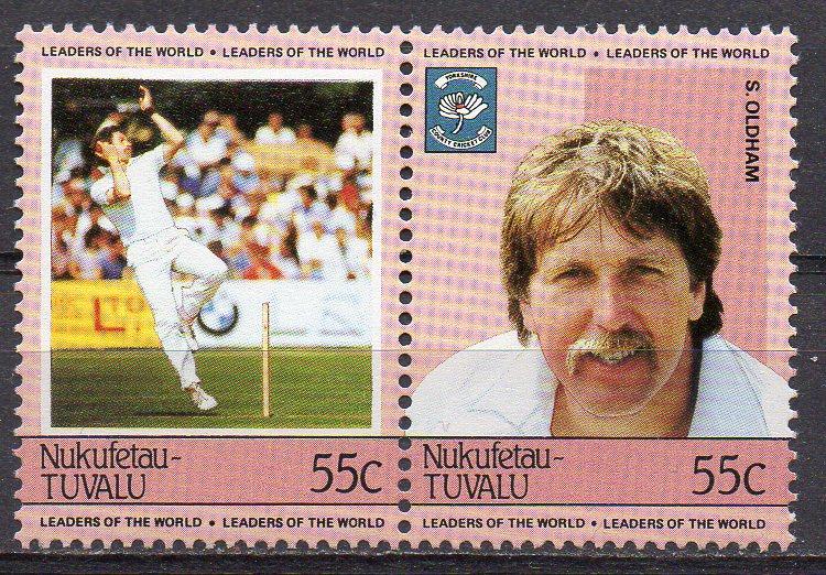 Tuvalu - Nukufetau, Mi-Nr. 27 + 28 **, ZD, Cricket-Spieler