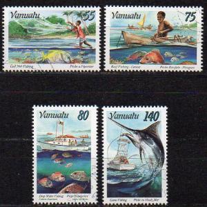 Vanuatu, Mi-Nr. 1000 - 1003 gest., kompl., Fischfang