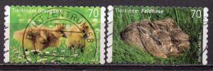 BRD, Mi-Nr. 3222 - 3223 gest., kompl., gestanzt, Tierkinder: Graugans und Feldhase