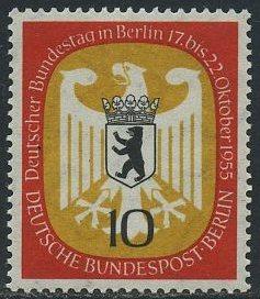 BERLIN 1955 Michel-Nummer 129 postfrisch EINZELMARKE - Deutscher Bundestag in Berlin