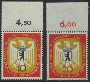 BERLIN 1955 Michel-Nummer 129-130 postfrisch SATZ(2) EINZELMARKEN Ränder oben (d) - Deutscher Bundestag in Berlin