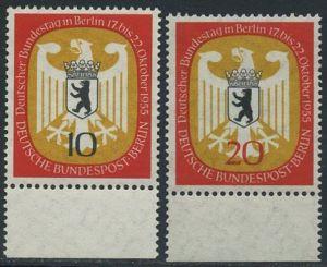 BERLIN 1955 Michel-Nummer 129-130 postfrisch SATZ(2) EINZELMARKEN Ränder unten - Deutscher Bundestag in Berlin