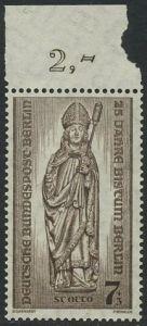 BERLIN 1955 Michel-Nummer 132 postfrisch EINZELMARKE Rand oben - Bistum Berlin, Wiederaufbau zerstörter Kirchen; Hl. Otto von Bamberg