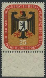 BERLIN 1956 Michel-Nummer 137 postfrisch EINZELMARKE RAND unten - Deutscher Bundesrat in Berlin