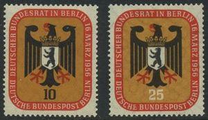 BERLIN 1956 Michel-Nummer 136-137 postfrisch SATZ(2) EINZELMARKEN - Deutscher Bundesrat in Berlin