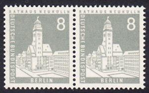 BERLIN 1956 Michel-Nummer 143 postfrisch horiz.PAAR - Berliner Stadtbilder: Rathaus Neukölln