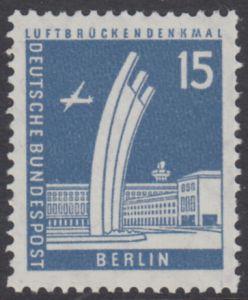 BERLIN 1956 Michel-Nummer 145 postfrisch EINZELMARKE - Berliner Stadtbilder: Luftbrückendenkmal, Tempelhof