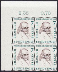 BERLIN 1957 Michel-Nummer 163 postfrisch BLOCK ECKRAND oben links - Männer aus der Geschichte Berlins: Theodor Mommsen