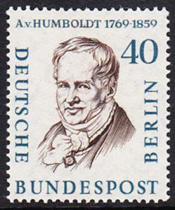 BERLIN 1957 Michel-Nummer 171 postfrisch EINZELMARKE - Männer aus der Geschichte Berlins: Alexander Frhr. von Humboldt, Naturforscher