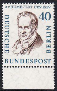 BERLIN 1957 Michel-Nummer 171 postfrisch EINZELMARKE RAND unten - Männer aus der Geschichte Berlins: Alexander Frhr. von Humboldt, Naturforscher