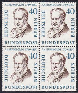BERLIN 1957 Michel-Nummer 171 postfrisch BLOCK - Männer aus der Geschichte Berlins: Alexander Frhr. von Humboldt, Naturforscher