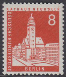 BERLIN 1959 Michel-Nummer 187 postfrisch EINZELMARKE - Berliner Stadtbilder: Rathaus Neukölln