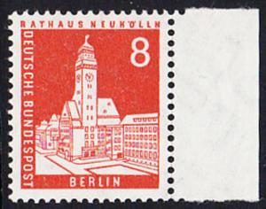 BERLIN 1959 Michel-Nummer 187 postfrisch EINZELMARKE RAND rechts - Berliner Stadtbilder: Rathaus Neukölln