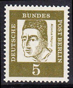 BERLIN 1961 Michel-Nummer 199 postfrisch EINZELMARKE - Bedeutende Deutsche: Albertus Magnus, Graf von Bollstädt, Gelehrter