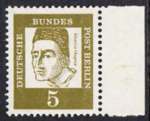 BERLIN 1961 Michel-Nummer 199 postfrisch EINZELMARKE RAND rechts - Bedeutende Deutsche: Albertus Magnus, Graf von Bollstädt, Gelehrter