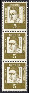 BERLIN 1961 Michel-Nummer 199 postfrisch vert.STRIP(3) - Bedeutende Deutsche: Albertus Magnus, Graf von Bollstädt, Gelehrter