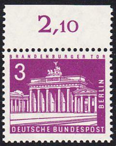 BERLIN 1963 Michel-Nummer 231 postfrisch EINZELMARKE RAND oben (e) - Berliner Stadtbilder: Brandenburger Tor