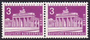 BERLIN 1963 Michel-Nummer 231 postfrisch horiz.PAAR - Berliner Stadtbilder: Brandenburger Tor