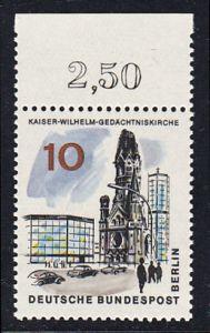 BERLIN 1965 Michel-Nummer 254 postfrisch EINZELMARKE RAND oben (c) - Das neue Berlin: Kaiser-Wilhelm-Gedächtniskirche