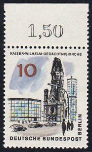 BERLIN 1965 Michel-Nummer 254 postfrisch EINZELMARKE RAND oben (b) - Das neue Berlin: Kaiser-Wilhelm-Gedächtniskirche