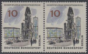 BERLIN 1965 Michel-Nummer 254 postfrisch horiz.PAAR - Das neue Berlin: Kaiser-Wilhelm-Gedächtniskirche
