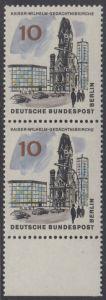 BERLIN 1965 Michel-Nummer 254 postfrisch vert.PAAR RAND unten - Das neue Berlin: Kaiser-Wilhelm-Gedächtniskirche