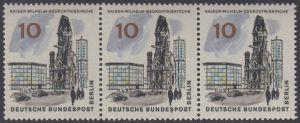 BERLIN 1965 Michel-Nummer 254 postfrisch horiz.STRIP(3) - Das neue Berlin: Kaiser-Wilhelm-Gedächtniskirche