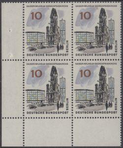 BERLIN 1965 Michel-Nummer 254 postfrisch BLOCK ECKRAND unten links - Das neue Berlin: Kaiser-Wilhelm-Gedächtniskirche