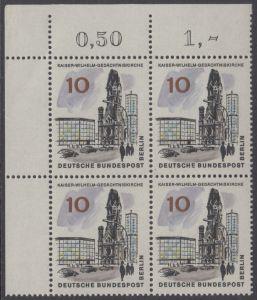 BERLIN 1965 Michel-Nummer 254 postfrisch BLOCK ECKRAND oben links - Das neue Berlin: Kaiser-Wilhelm-Gedächtniskirche