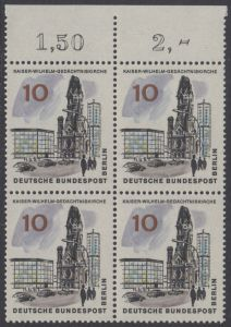 BERLIN 1965 Michel-Nummer 254 postfrisch BLOCK RÄNDER oben - Das neue Berlin: Kaiser-Wilhelm-Gedächtniskirche