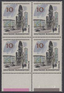 BERLIN 1965 Michel-Nummer 254 postfrisch BLOCK RÄNDER unten - Das neue Berlin: Kaiser-Wilhelm-Gedächtniskirche