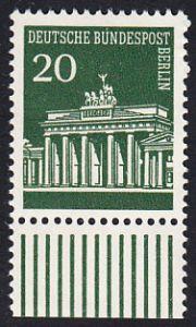 BERLIN 1966 Michel-Nummer 287 postfrisch EINZELMARKE RAND unten - Brandenburger Tor