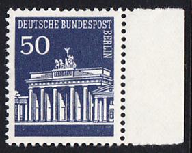 BERLIN 1966 Michel-Nummer 289 postfrisch EINZELMARKE RAND rechts - Brandenburger Tor