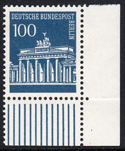 BERLIN 1966 Michel-Nummer 290 postfrisch EINZELMARKE ECKRAND unten rechts - Brandenburger Tor