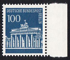 BERLIN 1966 Michel-Nummer 290 postfrisch EINZELMARKE RAND rechts - Brandenburger Tor