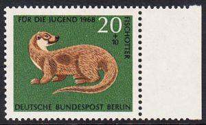 BERLIN 1968 Michel-Nummer 317 postfrisch EINZELMARKE RAND rechts - Vom Aussterben bedrohte Tiere: Fischotter