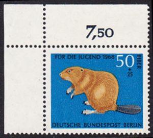 BERLIN 1968 Michel-Nummer 319 postfrisch EINZELMARKE ECKRAND oben links - Vom Aussterben bedrohte Tiere: Biber