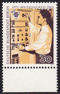 BERLIN 1969 Michel-Nummer 344 postfrisch EINZELMARKE RAND unten - Weltkongress des Personals der Post-, Telegrafen- und Telefonbetriebe (IPTT), Berlin: Fernmelde-Techniker (Asien)
