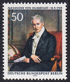 BERLIN 1969 Michel-Nummer 346 postfrisch EINZELMARKE - Alexander Freiherr von Humboldt, Naturforscher und Gelehrter