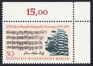 BERLIN 1971 Michel-Nummer 392 postfrisch EINZELMARKE ECKRAND oben rechts (a) - Brandenburgische Konzerte / Johann Sebastian Bach, Komponist